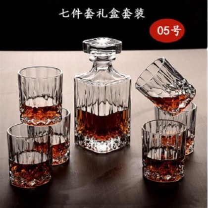 Whisky set 7pcs (glass+decanter)  (005- Square Flower Stripes )